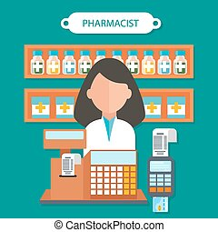 Pharmacist Concept Flat Design - Pharmacist concept flat ...