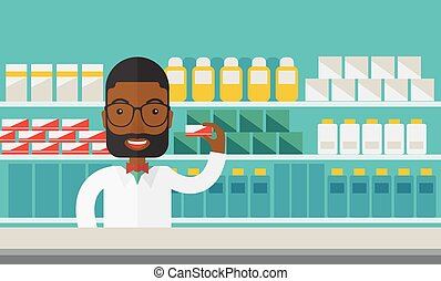 Pharmacist. - An african-american pharmacist at the counter...