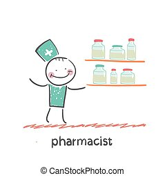 pharmacist. Fun cartoon style illustration. The situation of...