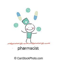 pharmacist. Fun cartoon style illustration. The situation of life.