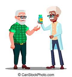 Pharmacist Giving The Pills To The Pharmacy Customer Vector. Isolated Cartoon Illustration