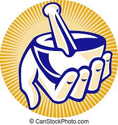 pharmacist hand hold mortar pestle - illustration of a ...