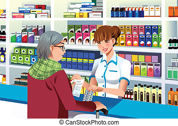 A vector illustration of pharmacist helping an elderly person in the pharmacy