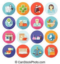 Pharmacist Icons Set - Pharmacist flat icons set with drugs ...
