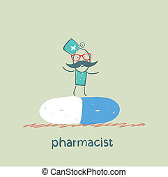 pharmacist is on a large tablet