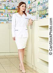Pharmacist lady in full length