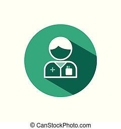 Pharmacist man icon with shadow on a green circle. Vector pharmacy illustration