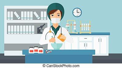 Pharmacist preparing medicine. - A woman preparing medicine ...