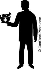 Pharmacist silhouette male - Silhouette of a male pharmacist...