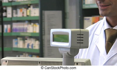 pharmacist - Cropped view of woman paying pharmacist. HD 30...