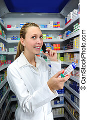 pharmacist talking on phone