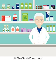 Pharmacist vector illustration. Pharmacist on background of shelves with medications.