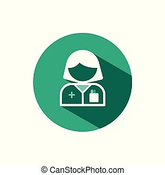 Pharmacist woman icon with shadow on a green circle. Vector pharmacy illustration