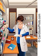 Pharmacist Working in the pharmacy - A vector illustration ...