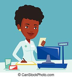 Pharmacist writing prescription. - Pharmacist writing on...