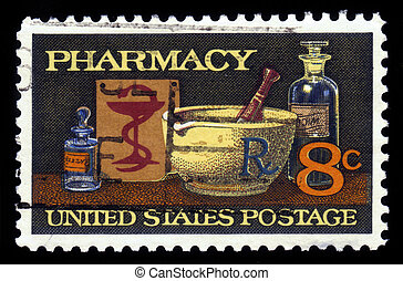 UNITED STATES OF AMERICA - 1972: A stamp printed in the United States of America shows image of typical items in a pharmacy, mortar and pestle, bowl of Hygeia, 19th century medicine, series, 1972