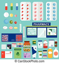 Vector pharmacy drugstore set. Medical store, pills, drugs, and other medical objects, design and infographic elements big set in flat style