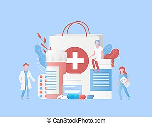 Pharmacy and traditional medicine concept. Pharmacist, doctor, nurse with rx list, medicines, box with drugs, tablet, pills, capsules, medical bottles and blisters. Colorful leaves. Trendy flat style. Vector illustration.