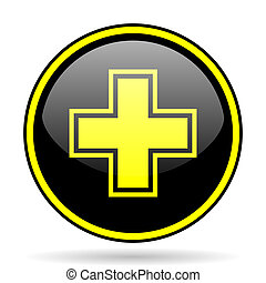 pharmacy black and yellow glossy internet icon