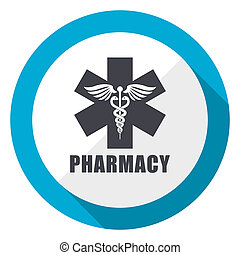Pharmacy blue flat design web icon
