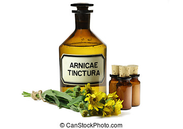 arnica tincture - pharmacy bottle with arnica tincture...