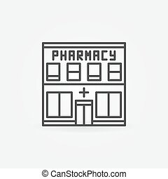 Pharmacy building icon - vector minimal sign in thin line...