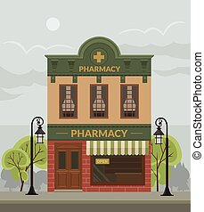 Pharmacy building. Vector flat illustration