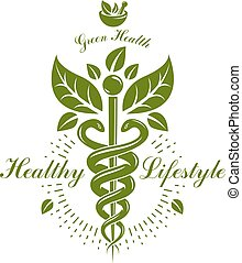 Pharmacy Caduceus icon, vector medical logo for use in holistic medicine, rehabilitation or pharmacology. Homeopathy creative symbol composed with mortar and pestle.