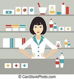 Pharmacy chemist girl standing in drugstore. Flat vector.