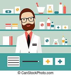 Pharmacy chemist man standing in drugstore. Flat vector.