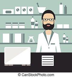 Pharmacy chemist standing in drugstore. Flat vector.