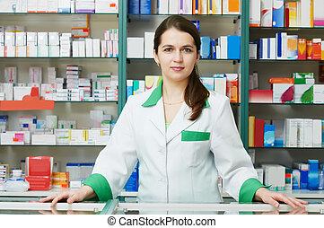 Pharmacy chemist woman in drugstore - cheerful pharmacist ...