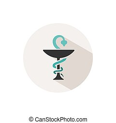 Pharmacy color icon with shadow on a beige circle. Snake symbol