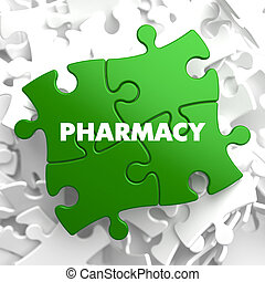 Pharmacy - Concept on Green Puzzle. - Pharmacy on Green...