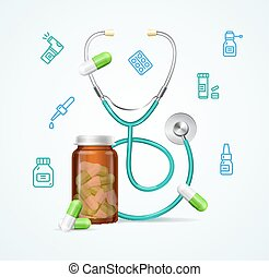 Pharmacy Concept with Pills Capsules in Medical Glass Bottle and Stethoscope. Vector