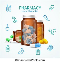 Pharmacy Concept with Pills Capsules in Medical Glass Bottle. Vector