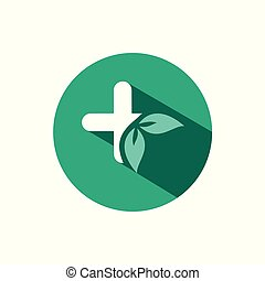 Pharmacy cross and leaves icon with shadow on a green circle. Vector pharmacy illustration