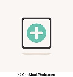 Pharmacy cross sign. Icon with shadow on a beige background. Medicine vector illustration