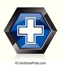 Pharmacy dark blue glossy hexagon geometric diamond vector web icon with reflection on white background. Modern design hexagonal internet button.