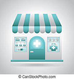 pharmacy design over gray background vector illustration