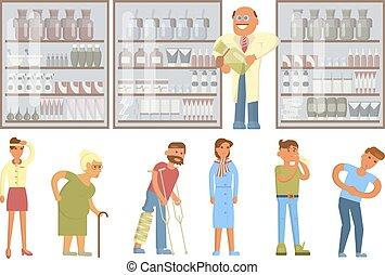 Pharmacy drugstore infographic elements.