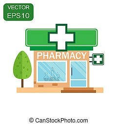 Pharmacy drugstore shop icon. Business concept store pharmacy pictogram. Vector illustration on green background with long shadow.
