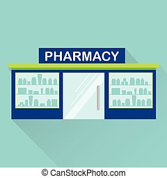 Pharmacy, drugstore vector icon with long shadow