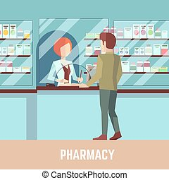 Pharmacy drugstore with pharmacist and customer. Health care...