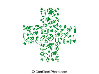 A collection of green stylized pharmacy and medial related elements, making a green cross isolated on white background. The decorations set includes: medicines (pills, capsules and tablets), test tubes and glasses, thermometer, syringe, lipstick, toothbrush, feeding bottle (biberon), heart and ...