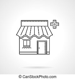 Pharmacy facade flat thin line vector icon