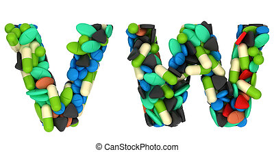 Pharmacy font W and V pills letters