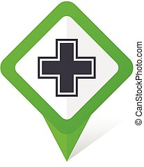 Pharmacy green square pointer vector icon in eps 10 on white background with shadow.