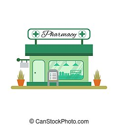 Pharmacy house icon in flat style. Drugstore vitrine -...