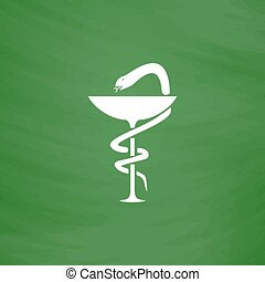 Pharmacy icon caduceus symbol, bowl with a snake